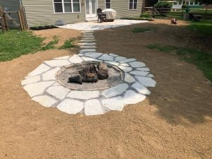 Firepit surrounded by rocks Creative Scapes